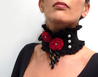 Crocheted Black Neckwarmer with Red Flowers and Silver Beads - Lux Cowl Choker - JUSTINE