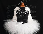"""Angel Tutu Costume w/ Halo - 11"""" Tutu, Angel Wings, and Halo - For Girls, Babies, Toddlers - Valentine's Day"""