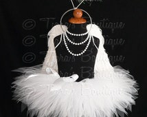 "Angel Tutu Costume w/ Halo - 11"" Tutu, Angel Wings, and Halo - For Girls, Babies, Toddlers - Valentine's Day"