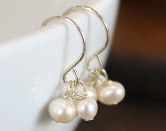 Three Birthstone Earrings - Sterling Silver - Gemstones, Pearls - Bridesmaid Gift