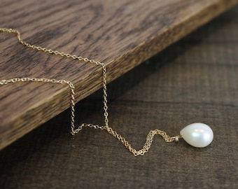 Pearl Drop Pendant Necklace - SImple, Gold