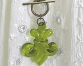 Fleur-de-lis Long Layering Necklace // Olive Green // Antique Bronze Chain // Boho Jewelry // Hippie Jewelry