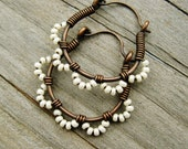 Ruffle Bottom Hoops - Wire Wrapped Hoop Earrings - seed beaded in cream pearl and antiqued copper cuties