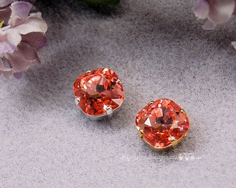 Swarovski Crystal Elements Rose Peach 12mm 4470 Square With Prong Setting Craft Supplies Jewelry Making