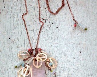 Rose Quartz Necklace - Repurposed Vintage - Iced and Frosted Pastels