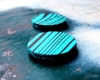 Woodgrain Spirit Sticker Seals,  20 Metallic Bronze Aqua Blue Green Teal Wood Grain Striped Paper Stickers