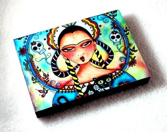 Wood Block Art Print, Frida Kahlo ACEO ATC, Fridge Magnet or Drilled Hole, Mexican Day of the Dead Cat Art, Artist Trading Card, Blue Pink
