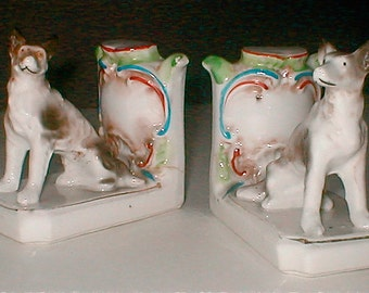 Porcelain German Shepherd Bookends - Made in Japan - Dog Guards the Desk - Vintage 40s Kitsch
