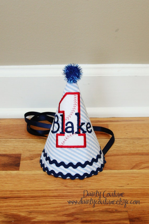 Baseball Birthday Hat Baseball Theme In Navy Blue Red And