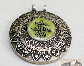 Afghanistan, Vintage Pashtun Silver Medallion Pendant with Jade, Item 75