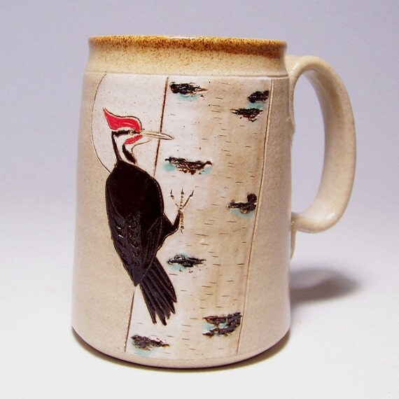 Pileated Woodpecker and Birch Tree Pottery Mega Mug Limited Series 172  24oz