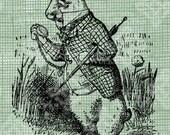 Digital Download White Rabbit with watch I'm Late, Alice in Wonderland digi stamp, digis, digital stamp, Lewis Carroll Antique Illustration
