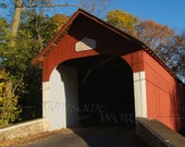 1873 Knecht's Covered BRIDGE in Autumn - BLANK 5 X 7 Pennsylvania NOTECARD frameable Art Photo with Free Origami Crane - Scenic Byway
