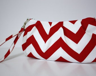 Red and White Chevron Wristlet
