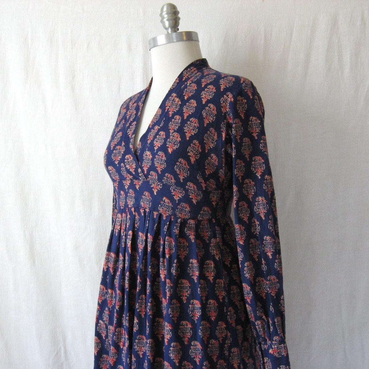 Vintage Indian Dress Bohemian Floral Block Print Maxi 60s 70s