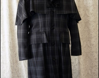 Long Black and Grey Tartan Wool Sherlock Inverness Greatcoat with Capelet by Kambriel - Brand New & Ready to Ship