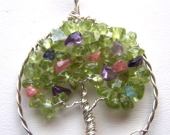 Spring Tree of Life pendant necklace - Peridot Amethyst Rhodochrosite Aquamarine Iolite - leaves flowers- february march august birthstone