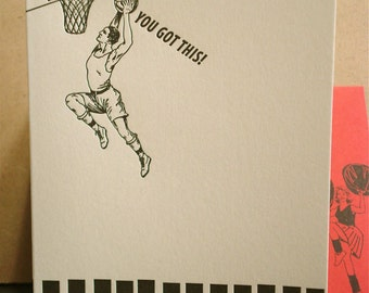 Slam Dunk - letterpress good luck greeting
