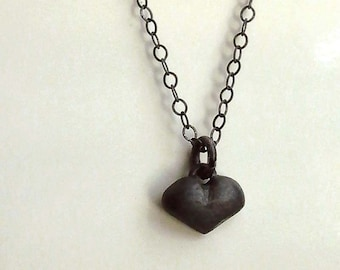 Heart Necklace - Tiny - Oxidized - Sterling Silver - Black - Cottage Chic - Miniature - Sweet Hearts - Rustic -Heart Jewelry -Charm Necklace