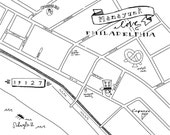 Manayunk Hand-Drawn Map Philadelphia