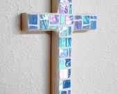 Sky Blue Wall Cross, iridized stained glass mosaic