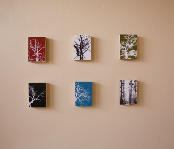 Tree Silhouettes - Series 4 Print Pack - 6 MOUNTED 5 x 7 Prints - Modern Design