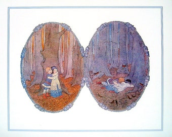 Babes In the Wood, Children's Print from 1988 Vintage Children's Book of Favorite Poems