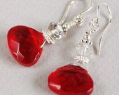 I Love Red Earrings - Glass Red Briolette Earrings - Sterling and Crystal Earrings - Happy Shack Designs