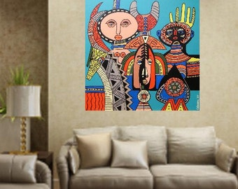 """African Masks..... original painting, acrylic on wood, 23.6x23.6"""", 60x60 cm, african culture, abstract, fantasy, masks, tradition"""