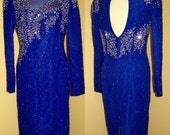 Cobalt Stunner Cocktail Party Dress Vintage 1980s Stenay Sequins Pearls Beads Gorgeous