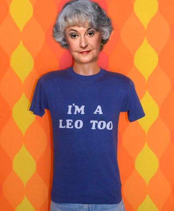 vintage tee shirt 70s i'm a LEO too zodiac t-shirt Medium astrology stars flock summer