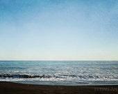 Beach photography, deep blue ocean, seaside, blue sky, ocean photography, gift size photo, New Zealand - As Sunset Approaches