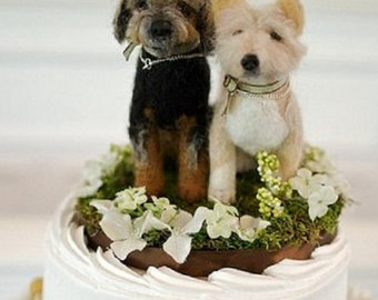 Wedding Cake Topper/  Custom Pet Portrait Sculptures / Your pets on Your Wedding Cake by Fiber Artist Gerry of Gourmet Felted