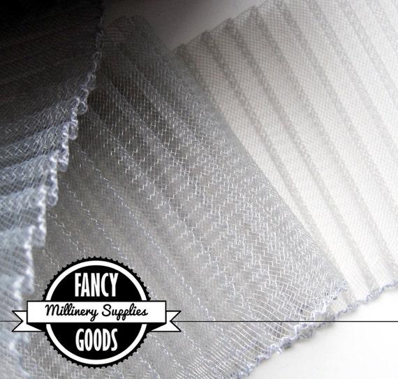 SALE - 1 Yard - Pleated - Grey - Gray  Horsehair - Crinoline - 4 Inches Wide