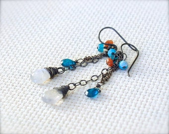 Oxidized Sterling Silver Earrings with Wire Wrapped Moonstone, Apatite, Sunstone, Turquoise Gemstones - Water's Edge // F157