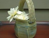 Ceramic Basket Vase in Celadon Green and Aqua Blue with Faceting