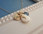 Custom gold initial necklace, seahorse necklace, teardop pearl, beach theme wedding, personalized necklace, custom birthstone necklace