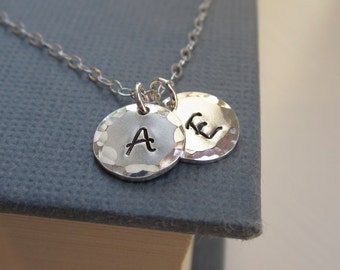 Two initial necklace, personalized necklace, two custom initials, sterling silver initial jewelry, couples jewelry