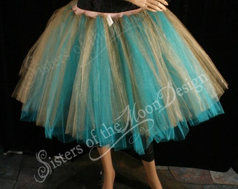 Midnight magic adult Tutu romance dance skirt teal Antique Gold extra poofy knee length bridal prom --You Choose Size-- Sisters of the Moon