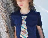 PLAID NECKTIE APPLIQUED on fine jersey tee .....Great outfit idea for church, weddings, birthdays, school activities