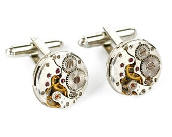 Steampunk Silver Cufflinks with Perfectly Matched Textured Ribbed Vintage Circle Watch Movements by Velvet Mechanism
