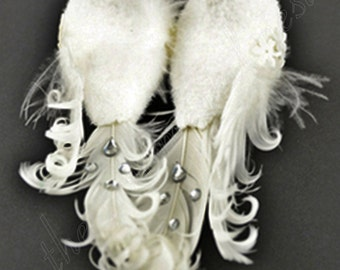 Exquisite Wedding Anniversary Bride & Groom White Lovebirds Doves Decorations Craft Wreath Ornaments