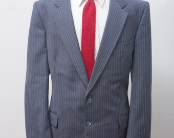 Men's Wool Suit / Vintage Jacket and Trousers / Size 46/Large / Fellini