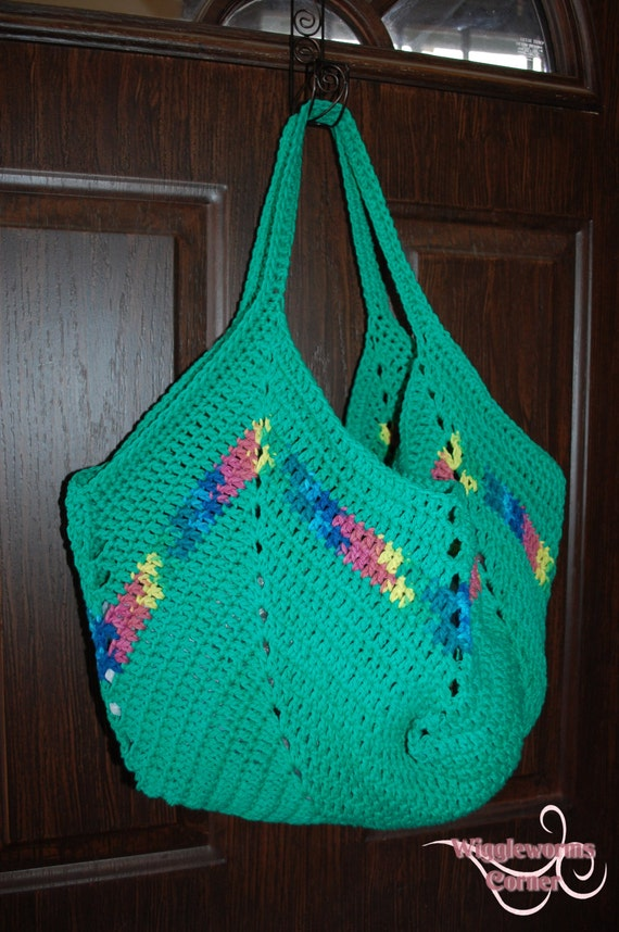Crocheted Granny Square Bottom Bag Grocery Bag Market Tote Farmers ...