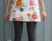Flower power mini dress / hippie / UNIQUE PRINT /  xs / small
