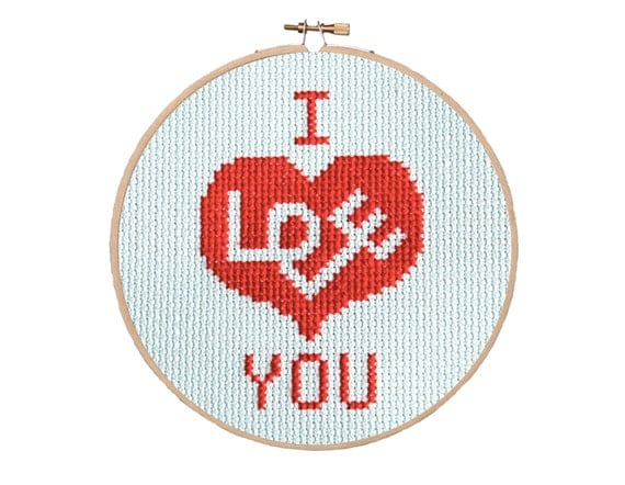Love Heart Cross Stitch Pattern Instant Download