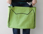 Organic, Lime Green Oversized Cat Tote Bag, cat ears, kitty cat mom, gift for cat lover, gift for sister, for mom, handmade. quirky tote bag