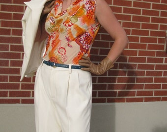 Bias-Cut Silk Velvet Burnout Blouse---Custom Cut and Made-To-Measure