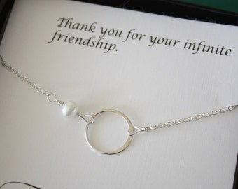 Friendship Necklace, Infinite Love , Mom Necklace, Infinite Friendship, White Pearl, Sterling Silver Necklace