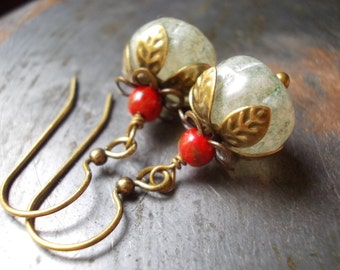 Flower earrings Little Sweet Pumpkin handmade jewelry glass bead brass petal floral Rose Bud sage green red grey gray pomegranate Persephone